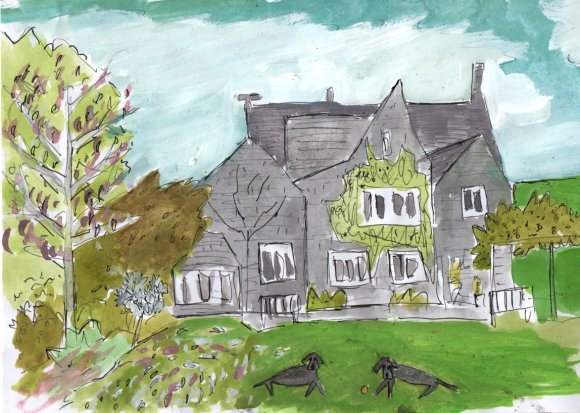 Tony's house in Spring - Gouache and pen on card - 2014 - SOLD
