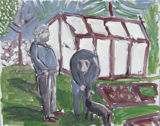 two men standing by a greenhouse
