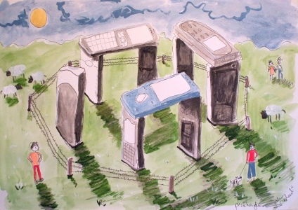 Phonehenge - Pen and acrylic on paper - 2016